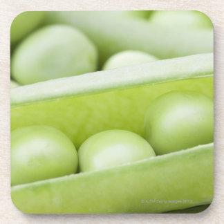 Fresh organic peas drink coaster