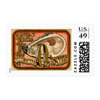 Fresh Oysters Vintage Advertisement circa 1870 Stamp