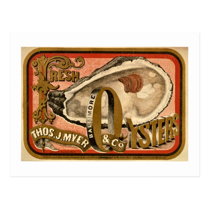 Fresh Oysters Vintage Baltimore Ad circa 1870 Postcard