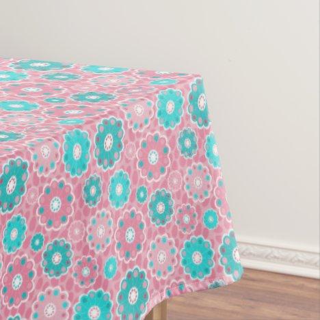 Fresh Pink and Aqua modern flowery Tablecloth
