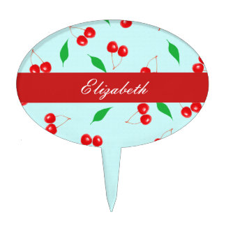 Fresh Pink Cherries on a Mint Background Cake Topper