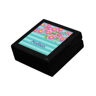 Fresh Pink Daisy Flowers on Turquoise Stripes Gift Box