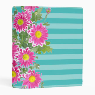Fresh Pink Daisy Flowers on Turquoise Stripes Mini Binder