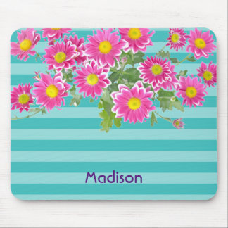 Fresh Pink Daisy Flowers on Turquoise Stripes Mouse Pad