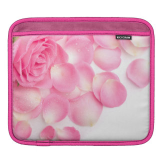 fresh pink rose petals iPad sleeve