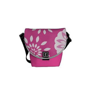 Fresh Pink Splash Blossom Botanical Messenger Bags