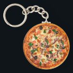"""Fresh Pizza Theme Keychain<br><div class=""""desc"""">Nothing beats a fresh pizza pie like the one that decorates this keychain displayed with all sorts of pizza toppings it is designed you can add your own text tumor promote something or just a budget keychain as a party favor for a large group.</div>"""