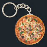 "Fresh Pizza Theme Keychain<br><div class=""desc"">Nothing beats a fresh pizza pie like the one that decorates this keychain displayed with all sorts of pizza toppings it is designed you can add your own text tumor promote something or just a budget keychain as a party favor for a large group.</div>"
