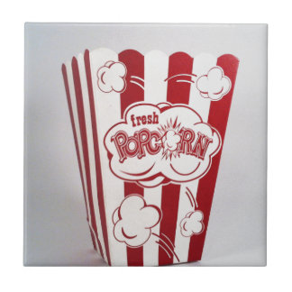 Fresh Popcorn Bag red Vintage Ceramic Tile