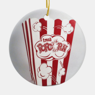 Fresh Popcorn Bag red Vintage Double-Sided Ceramic Round Christmas Ornament