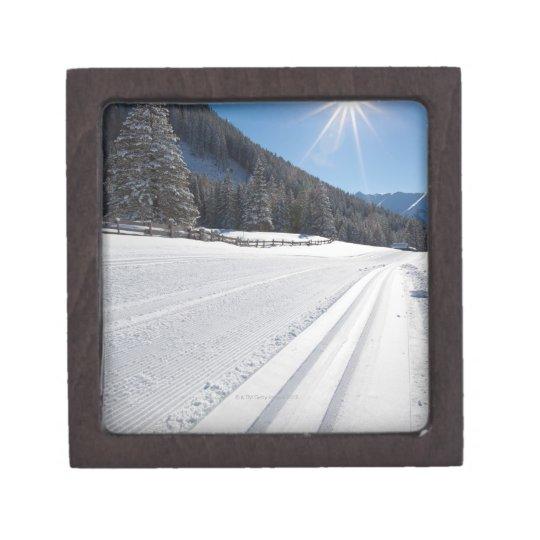 fresh prepared cross-country ski run in a 2 gift box