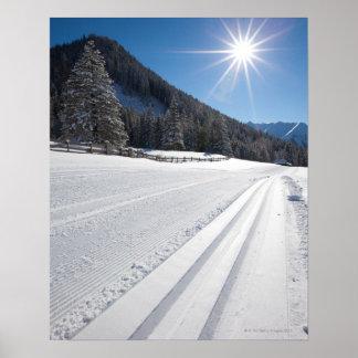 fresh prepared cross-country ski run in a 2 poster