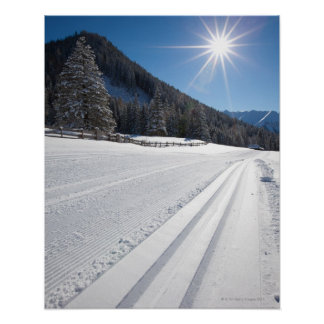 fresh prepared cross-country ski run in a 2 print