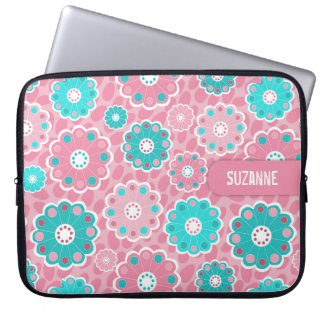 Fresh pretty pink and aqua floral computer sleeve