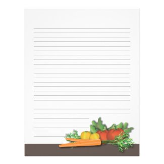Fresh Produce Family Cookbook Recipe Pages Personalized Letterhead