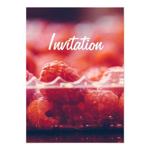 Fresh Raspberries Photography Art Invitation