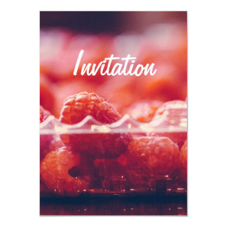 Fresh Raspberries Photography Art Invitation
