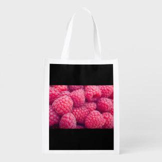 Fresh raspberries reusable grocery bag