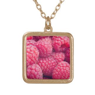 Fresh raspberries square pendant necklace