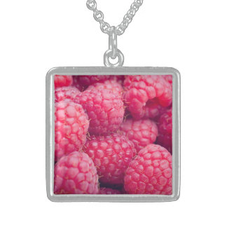 Fresh raspberries sterling silver necklace