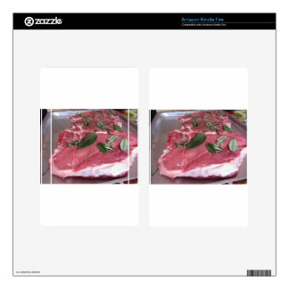 Fresh raw marbled meat steak decals for kindle fire