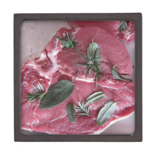 Fresh raw marbled meat steak gift box