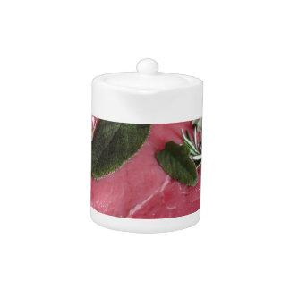 Fresh raw marbled meat steak teapot