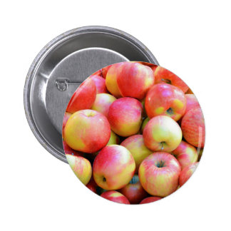 Fresh red and yellow apples pinback buttons