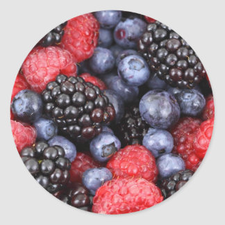 Fresh Red Blue and Purple Berries Classic Round Sticker