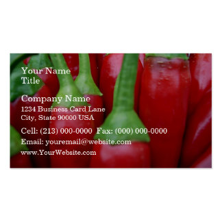 Fresh red hot chillies business cards