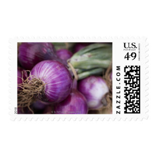 Fresh red onions at a New Jersey farmer's Postage