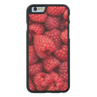 Fresh red raspberries carved maple iPhone 6 slim case