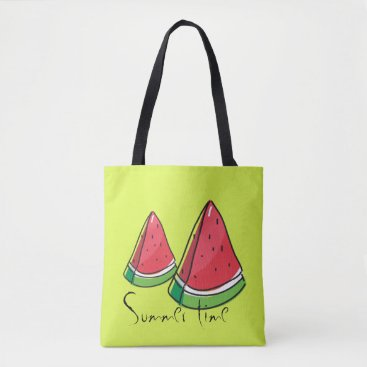 Beach Themed Fresh red watermelon, personalised summer tote bag