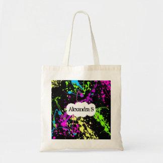 Fresh Retro Neon Paint Splatter on Black Bags
