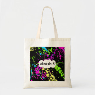 Fresh Retro Neon Paint Splatter on Black Budget Tote Bag