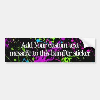 Fresh Retro Neon Paint Splatter on Black Car Bumper Sticker