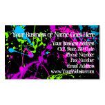 Fresh Retro Neon Paint Splatter on Black Business Card
