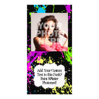 Fresh Retro Neon Paint Splatter on Black Card