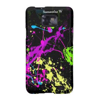 Fresh Retro Neon Paint Splatter on Black Samsung Galaxy Case