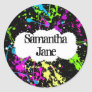 Fresh Retro Neon Paint Splatter on Black Classic Round Sticker