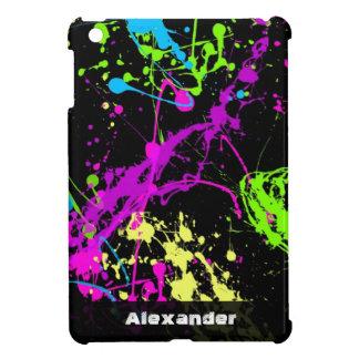 Fresh Retro Neon Paint Splatter on Black iPad Mini Cases