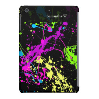 Fresh Retro Neon Paint Splatter on Black iPad Mini Retina Case