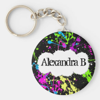 Fresh Retro Neon Paint Splatter on Black Keychain