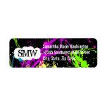 Fresh Retro Neon Paint Splatter on Black Return Address Labels