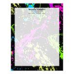 Fresh Retro Neon Paint Splatter on Black Letterhead Template