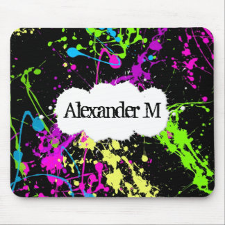 Fresh Retro Neon Paint Splatter on Black Mouse Pad