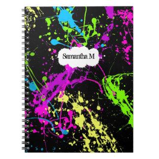 Fresh Retro Neon Paint Splatter on Black Notebook