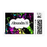 Fresh Retro Neon Paint Splatter on Black Postage Stamp
