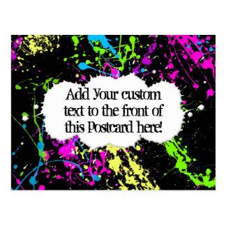 Fresh Retro Neon Paint Splatter on Black Post Card