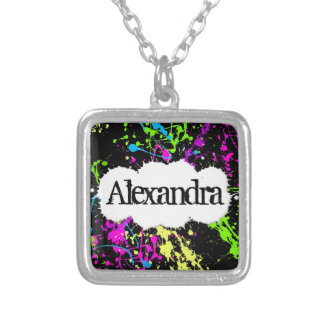 Fresh Retro Neon Paint Splatter on Black Silver Plated Necklace
